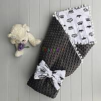 Конверт-одеяло минки на синтепоне с помпонами серый, фото 1