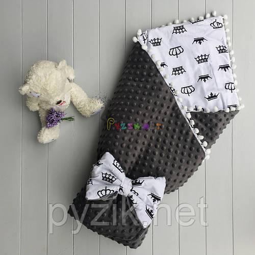 Конверт-одеяло минки на синтепоне с помпонами серый