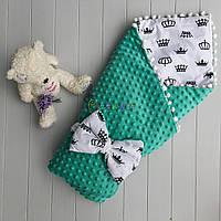 Конверт-одеяло минки на съемном синтепоне с помпонами бирюзовый, фото 1