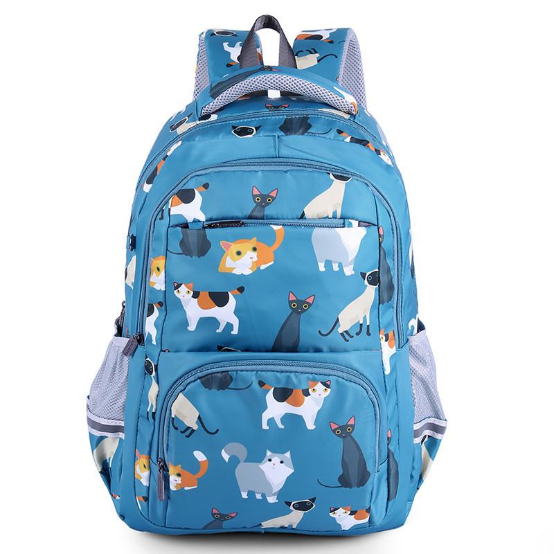 Голубой рюкзак с кошками