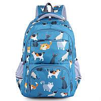 Голубой рюкзак с кошками, фото 1