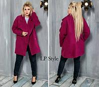 Женское стильное кашемировое пальто на кнопке Батал, фото 1