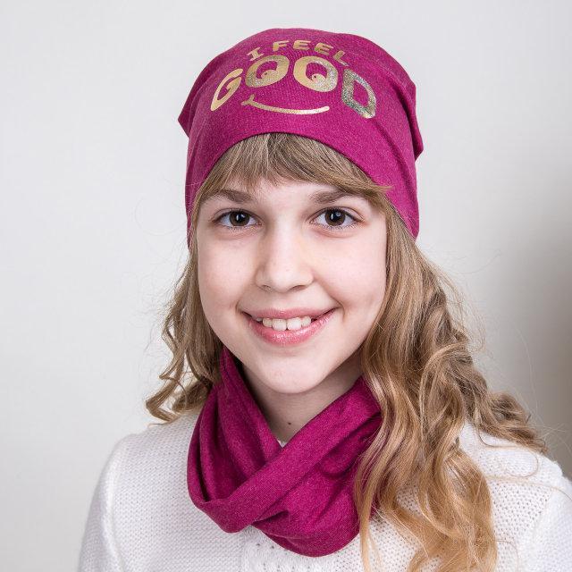 Шапочка трикотажная с шарфиком хомут