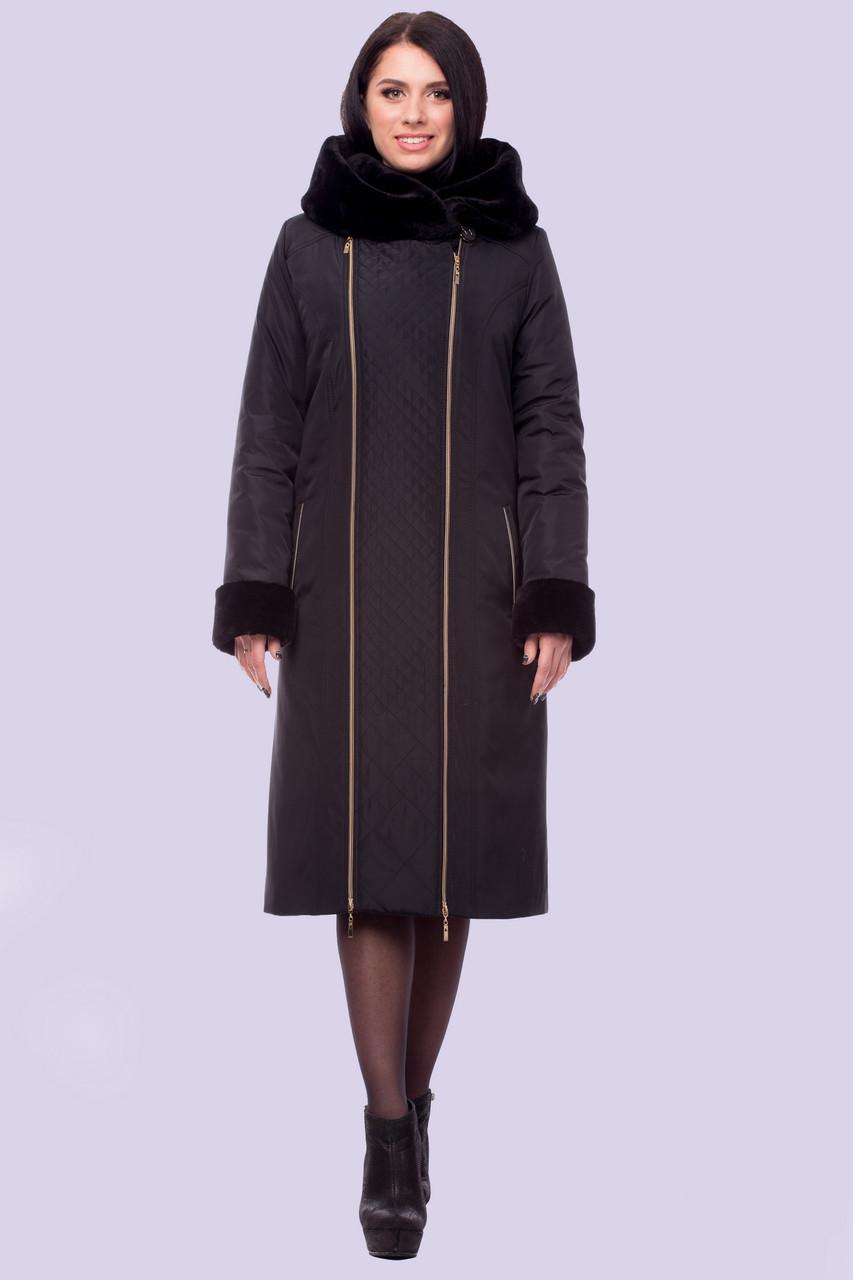 Молодежное зимнее пальто женское на молнии мех искусственный мутон большого  размера 48-64 баклажановое bef0118f8a6be