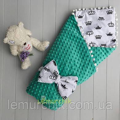 Конверт-одеяло минки на съемном синтепоне с помпонами бирюзовый