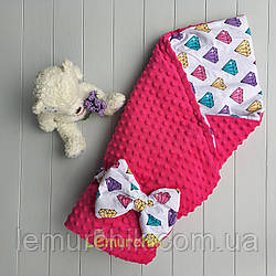 Конверт-одеяло минки на синтепоне малиновый