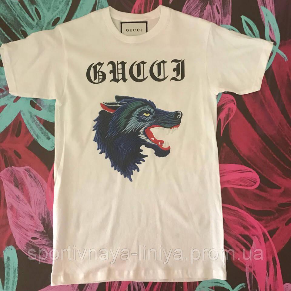 Мужская белая футболка Gucci унисекс Реплика