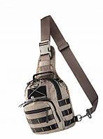 Тактическая наплечная однолямочная сумка-рюкзак M-Tac серого цвета