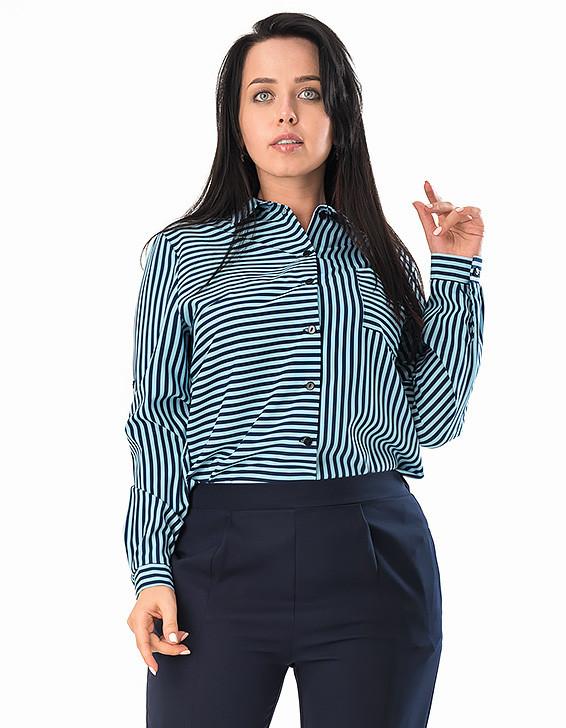 b88969e223d Женская рубашка в полоску голубого цвета. Модель 19239. Размеры 50-56