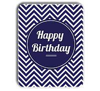 Металл открытка - табличка Happy Birthday синяя