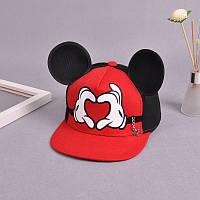 Детская кепка снепбек  с ушками Сердце с прямым козырьком Красная, Унисекс, фото 1