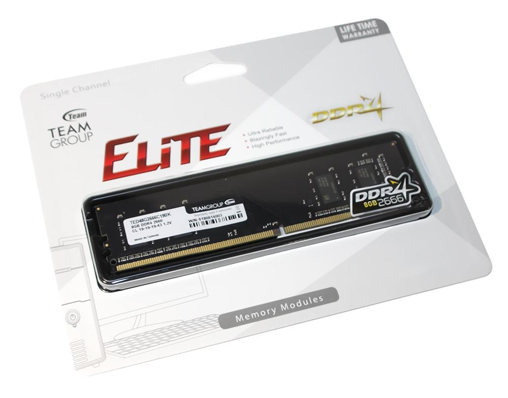 Память 8Gb DDR4, 2666 MHz, Team Elite, 19-19-19, 1.2V (TED48G2666C1901)