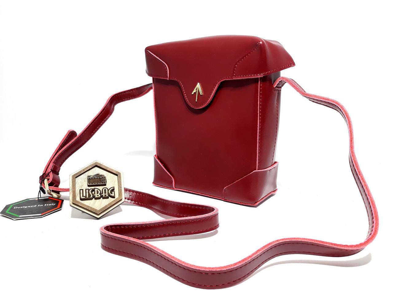 d0be2b2938d9 Женская почтовая сумка Бордового (красная) цвета из натуральной кожи ...