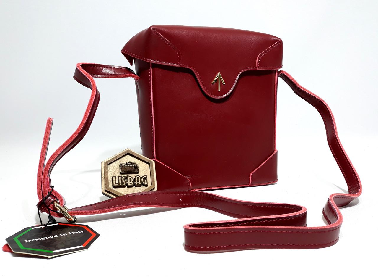 c329ac4eebc5 Женская почтовая сумка Бордового (красная) цвета из натуральной кожи, ...