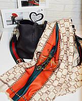 Теплый палантин шарф в стиле Gucci (Гуччи) топ модель