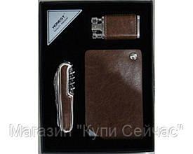 Подарочный набор зажигалка/нож/визитница №3053