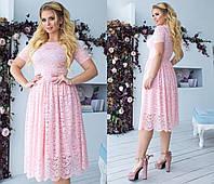 Гипюровое короткое платье на подкладке. Розовое, 8 цветов. Р-ры: 48,50,52,54.