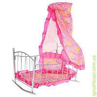 Кроватка для куклы, желез, качал, 47-33-67см, балдахин, подушка, сп.место 43см