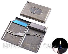 """Портсигар в подарочной упаковке с зажигалкой на 18 сигарет """"Бык"""" №3305-4"""