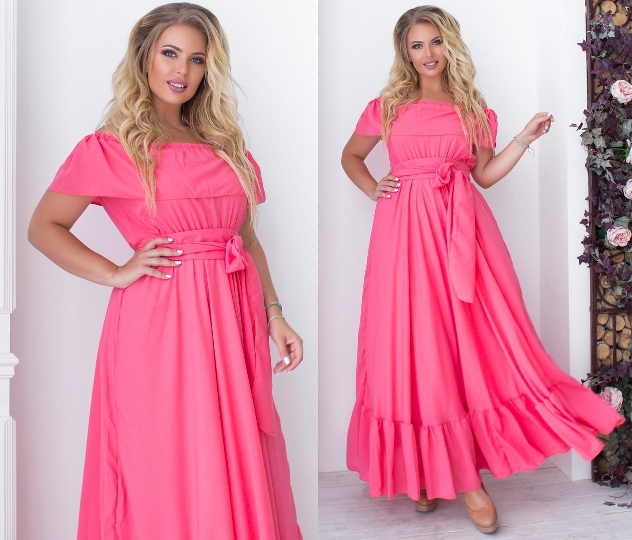 8ec4ed44e60fba5 Длинное Шифоновое Платье с Поясом. Коралловое, 5 Цветов. Р-р: 48-50 ...