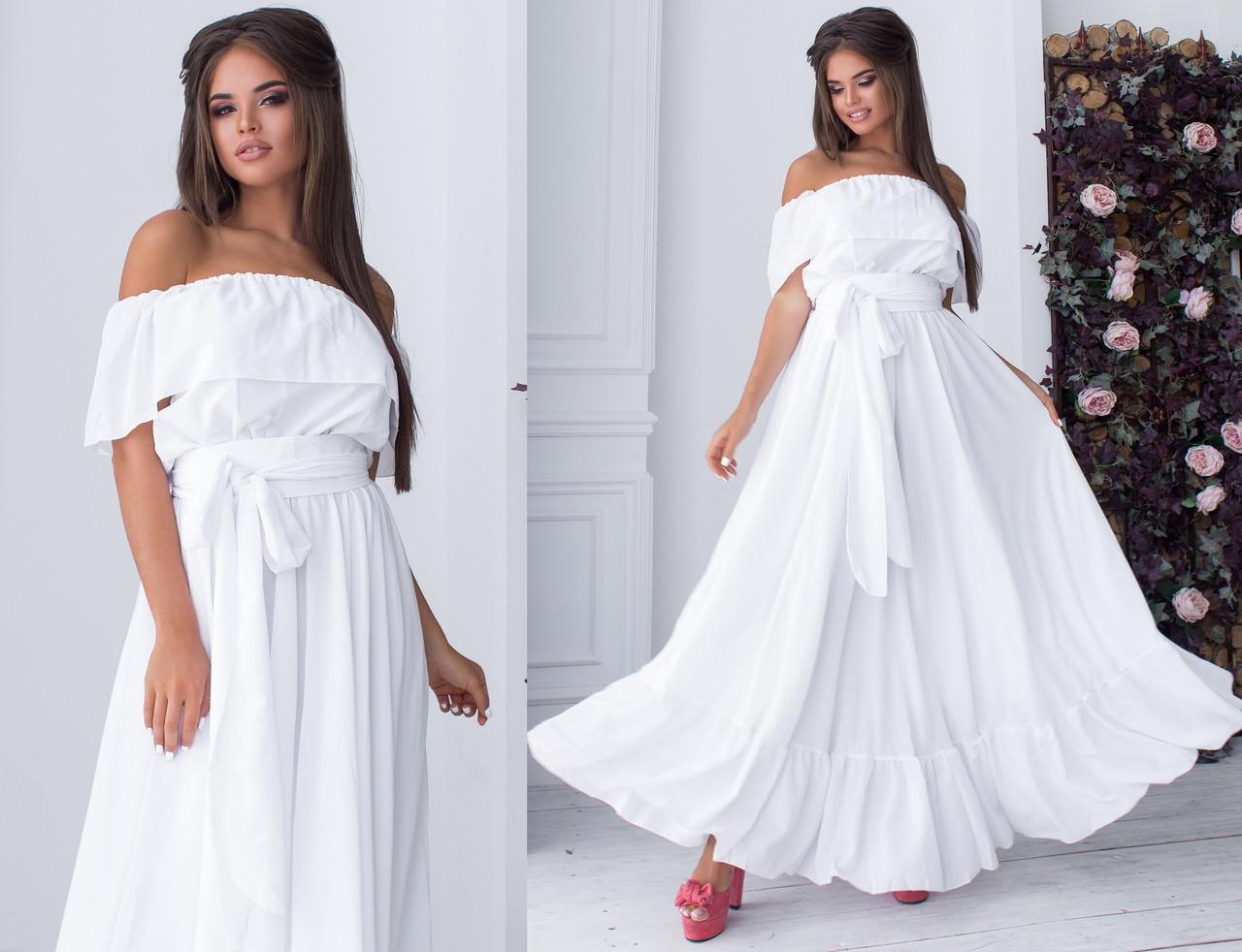 4c0498b45b7 Длинное Шифоновое Платье с Поясом. Белое