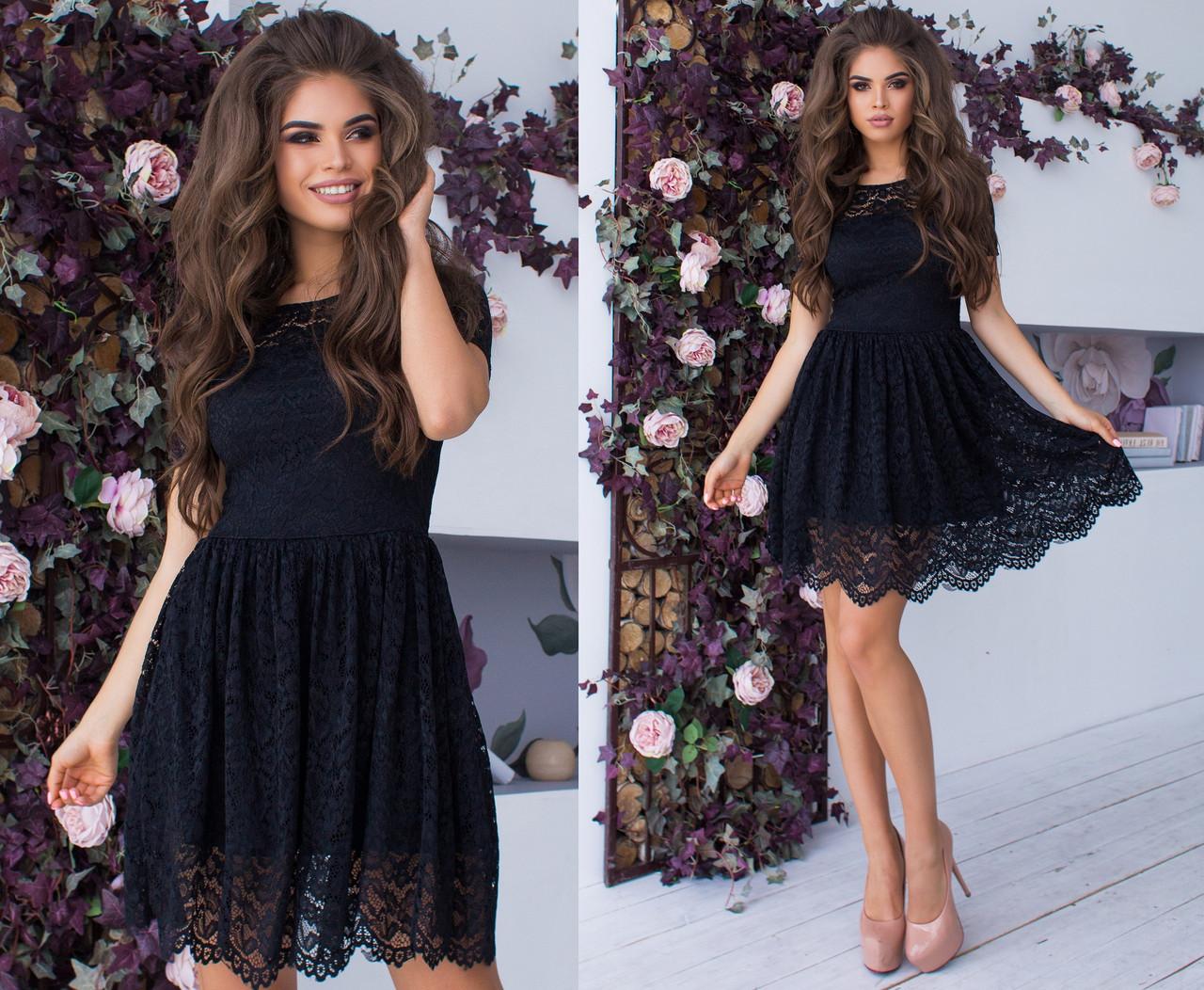 22fd246506872c3 Гипюровое Короткое Платье на Подкладке. Чёрное, 8 Цветов. Р-ры: 42 ...