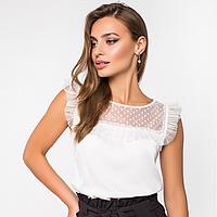 Женская стильная блузка из шелка и сетки.