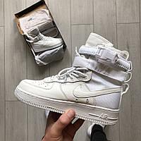 Женские кроссовки Nike Air Force 1SP белые, высокие (реплика люкс класса 1:1)