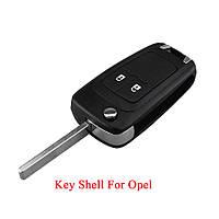 Выкидной ключ корпус на Опель (Opel) 2 кнопки HU100