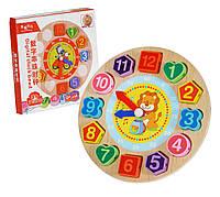 """""""Часы"""" зебра деревянная развивающая игрушка 18 см, рамка-вкладыш, шнуровка, в коробке"""