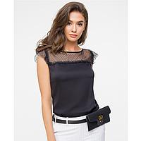 Женская блузка черная из шелкасетки и фатина.
