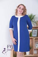 Контрастное женское платье электрик 0113/01, фото 1