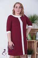 Контрастное женское платье бордо 0113/04, фото 1