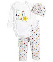 Трикотажный комплект для новорожденного  1-2,  4-6,  9-12 месяцев, фото 1