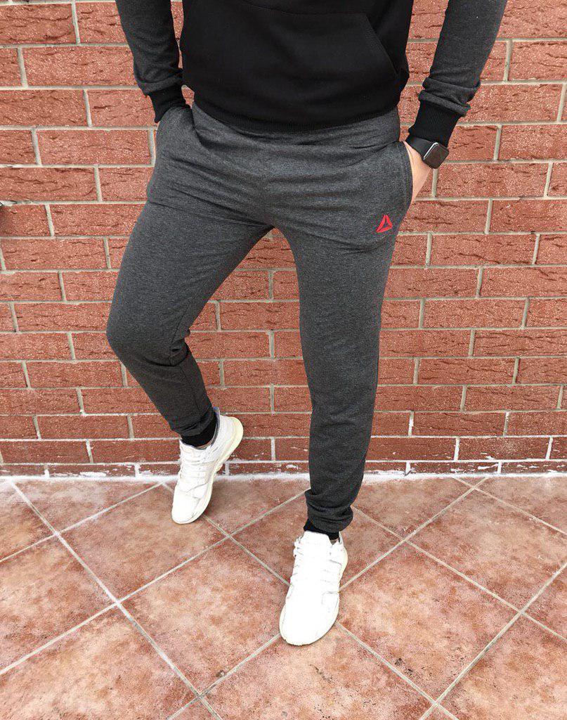 Спортивные мужские штаны Reebok темно-серые топ реплика