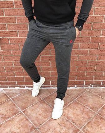 Спортивные мужские штаны Reebok темно-серые топ реплика, фото 2
