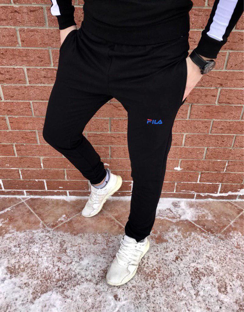Спортивные мужские штаны Fila черные топ реплика