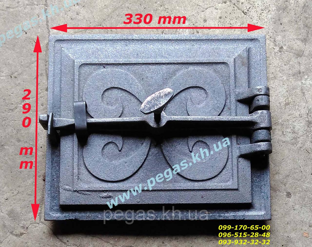 Дверка чугунная (240х275 мм) печи, грубу, барбекю, мангал