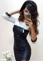 Короткое кожаное платье 0119/01, фото 1