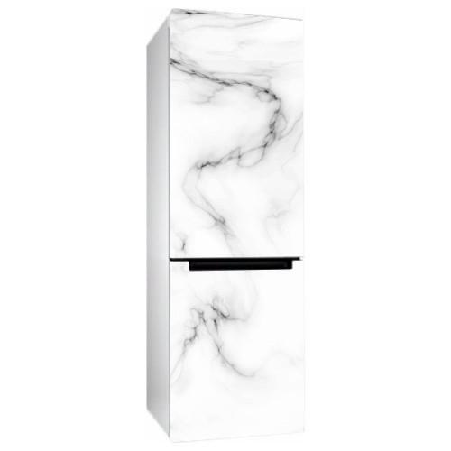 Виниловая наклейка на холодильник Белый мрамор (пленка самоклеющаяся фотопечать)
