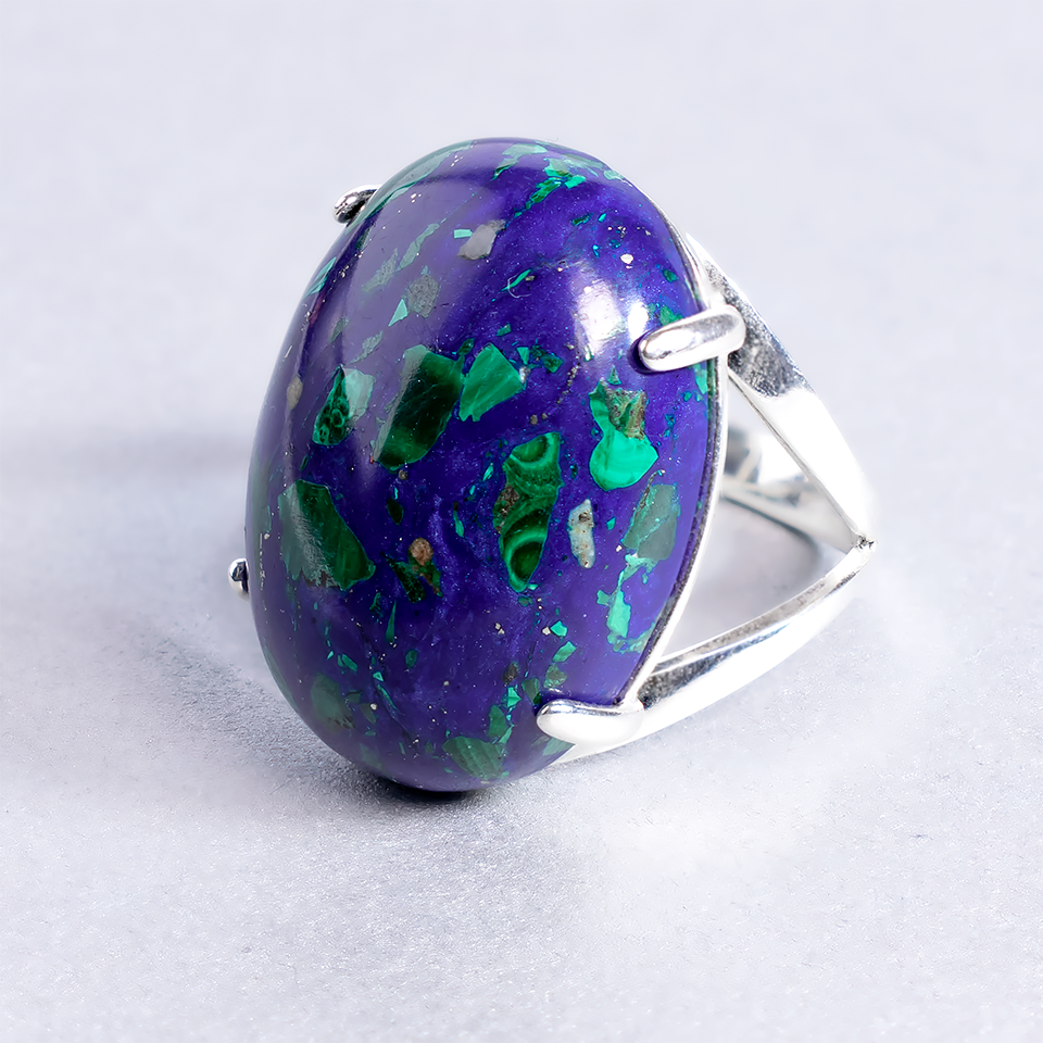 Малахит в лазурите, 25*18 мм., серебро 925, кольцо, 932КЛМ