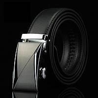 Мужской Кожаный Ремень Пряжка Автомат (015) Черный 110см