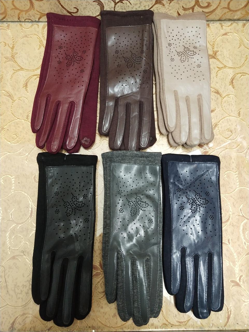 Сенсором Шкіра+Трикотаж жіночі перчаткис для роботи на телефоні плоншете стильні тільки оптом
