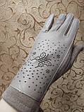 Сенсором Шкіра+Трикотаж жіночі перчаткис для роботи на телефоні плоншете стильні тільки оптом, фото 2