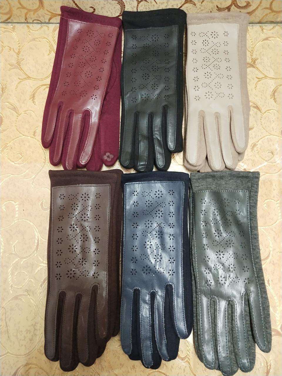 Сенсором Кожа+Трикотаж женские перчаткис для работы на телефоне плоншете cтильные только оптом