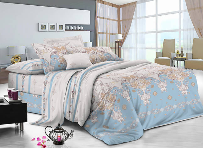 Двуспальный комплект постельного белья 180*220 сатин (10274) TM КРИСПОЛ Украина, фото 2