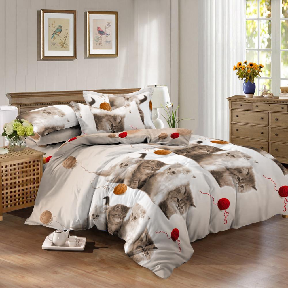Семейный комплект постельного белья сатин (10307) TM КРИСПОЛ Украина