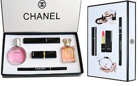 Подарочный набор Шанель Chanel Парфюмы + Косметика 5 в 1 (копия).