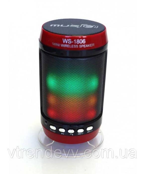 Колонка портативная со светомузыкой Wster WS-1806