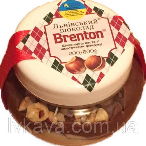 Шоколадно-молочная паста с кусочками фундука Львівський шоколад Брентон, 200 гр, фото 2